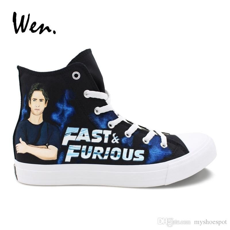 10e0eec9a7da Wen Season Canvas Shoes Custom Design Fast   Furious Hand Painted Shoes  Black Sneakers High Help Men Women Vulcanized  217342 Mens Boots Moccasins  From ...