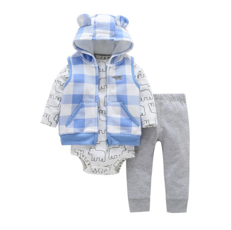 7ea1d8d3f2ad 2019 Spring Baby Boys Cute Dot Hooded Vest+Long Sleeve Stripe ...
