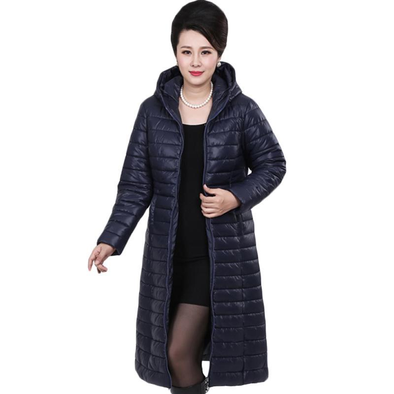 6bc7bbb172b 2019 6XL Plus Size Middle Aged Ladies Long Autumn Winter Warm Coat Women  Light Thin Jacket Women S Portable Mother Parka XH694 From Qiqiw