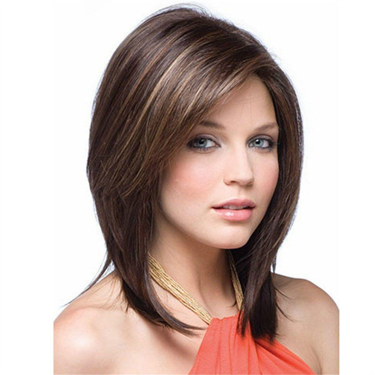 Bob Wave Shoulder Length Short Straight Fashion Women S Full Hair Wig  Straight Synthetic Bob Wig With Bangs White Wigs Short Lace Front Wigs From  ... ab6c6c68c