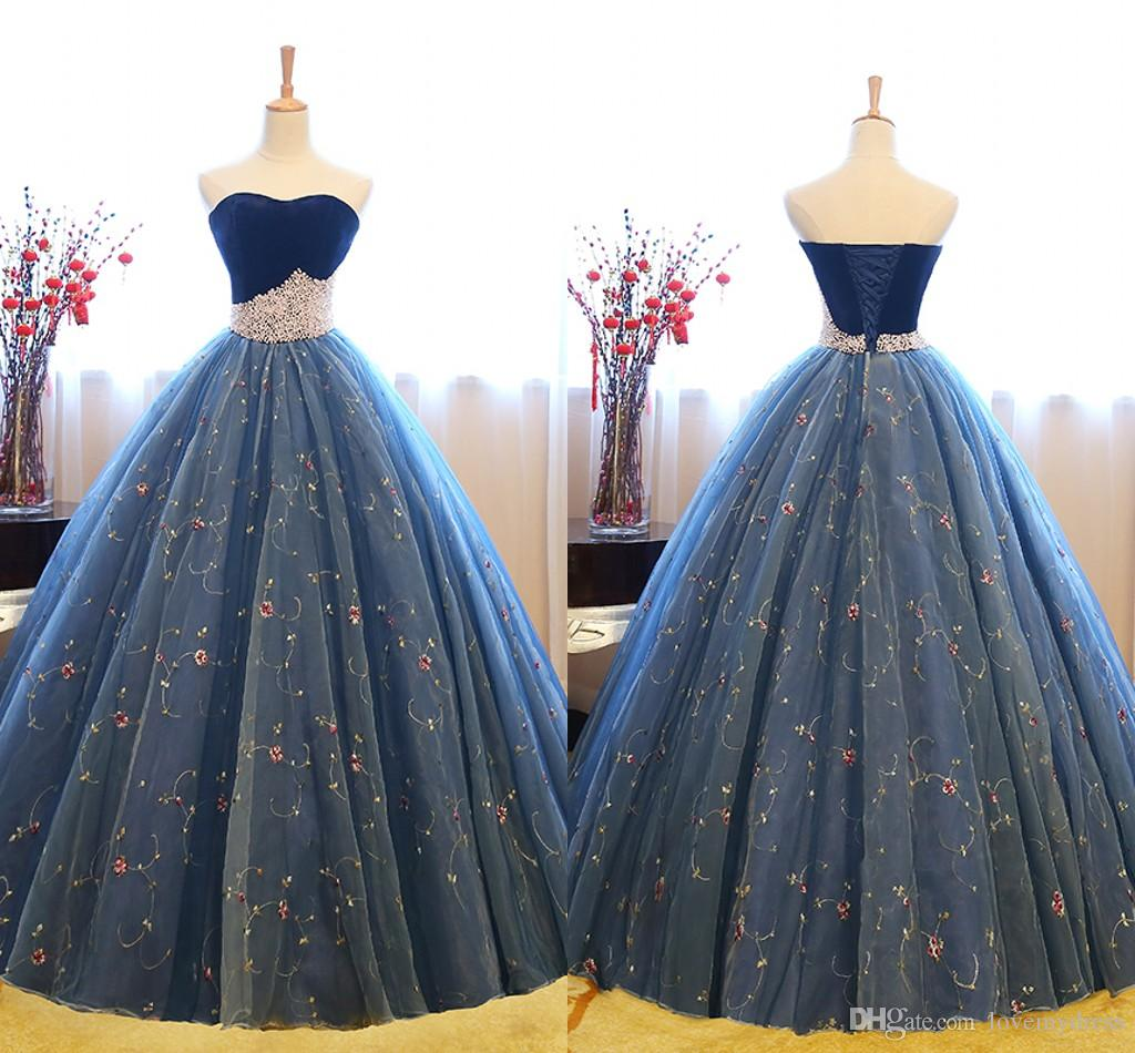 7b0a8a401b9 2019 Pearls Printed Tulle Prom Dresses Ball Gowns Strapless Velvet Top Open  Back Bandage Graduation Dress Evening Gowns Party Formal Dress Prom Dresses  ...