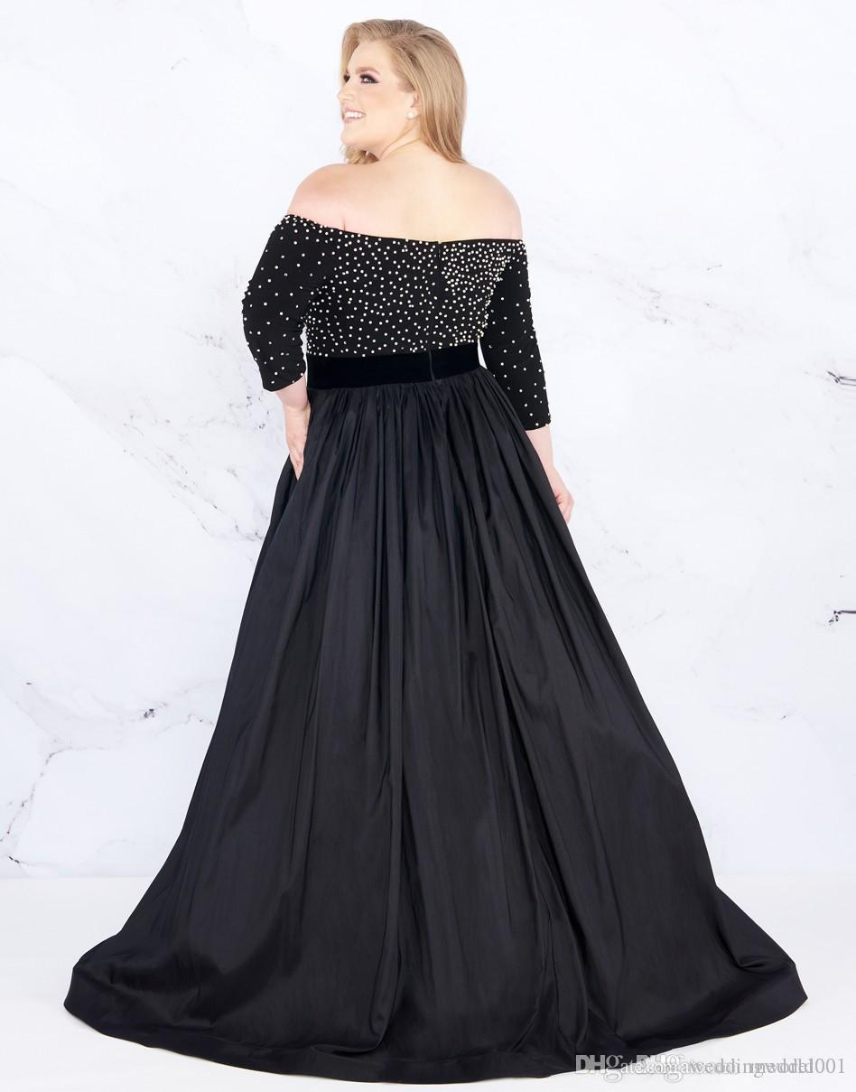 2019 Modest Black Evening Prom dresses Plus size Off the shoulder with  Sleeves Sequin Beading Long Cheap Plus Size Special Occasion Dresses