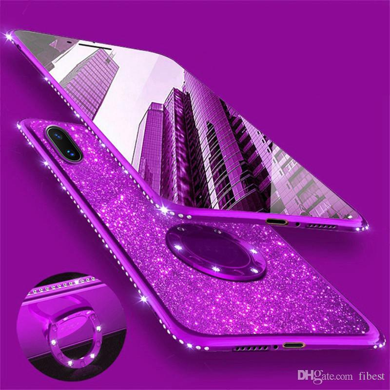 Phone Case For Samsung Galaxy S8 iPhone XR X 8 7 6 Plus XS Max Bling Diamond Ring Holder Stand Cover Cases