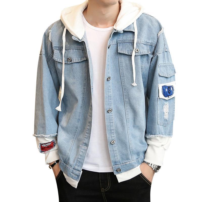406ef3f1d10b41 Nova Com Capuz Jaqueta Jeans Masculina Moda solta Falso Duas Peças Jaqueta  Casaco Furo Multi-bolso Jeans Rasgado Jaquetas Masculino Plus Size