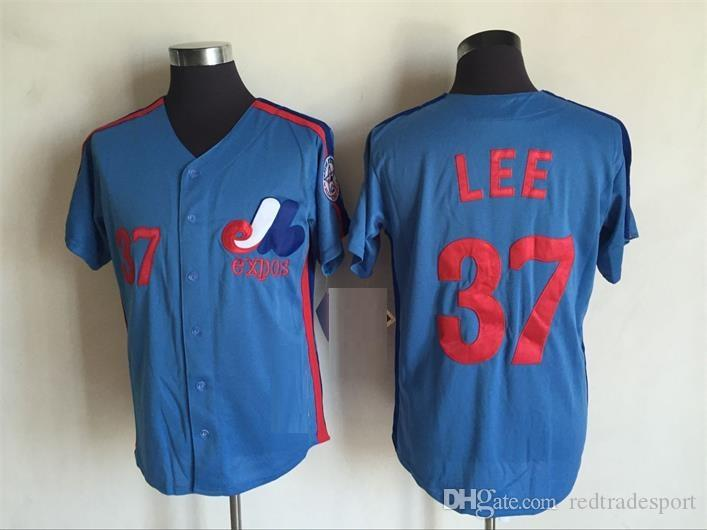 best sneakers 06171 02365 Vintage Montreal Expos 37 Bill Lee Baseball Jerseys Cheap White Blue #37  Bill Lee Stitched Shirts M-XXXL