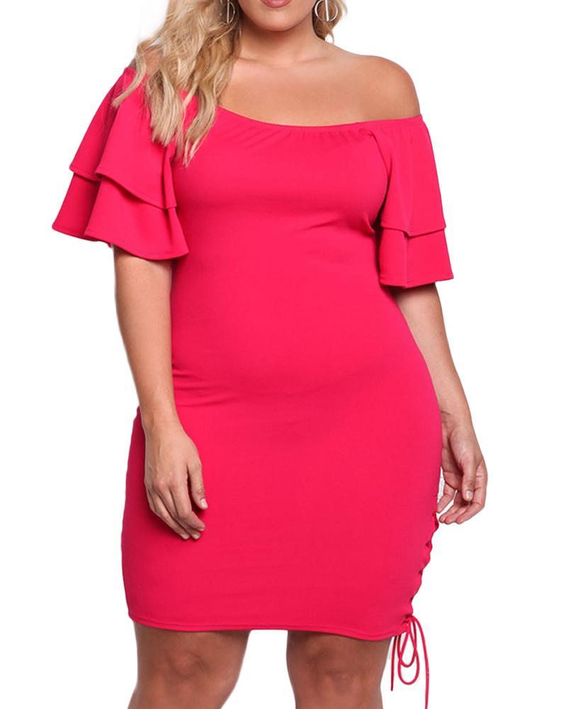 37fa297281 Sexy Women Plus Size Slash Neck Bodycon Dress Off Shoulder Ruffle Sleeve  Sheath Dress Side Lace Up Bandage Bodycon Party Dress Lace Dress Black  Dresses From ...
