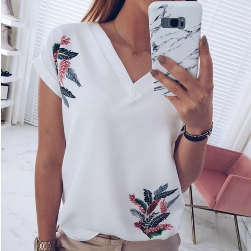 e06de3f300c Deruilady Women V Neck Short Sleeve T Shirt Fashion Print White Pink ...