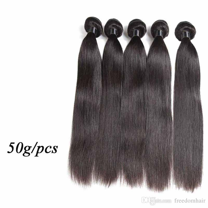 Cheap Human Hair Extensions Straight Body Wave 50g/pcs Brazilian Virgin Hair Weaves 5/6 Bundles Lot Nature Black Color Human Hair Weft