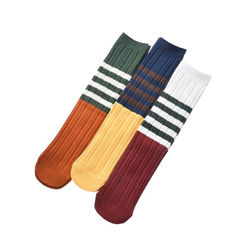 b9034a90533 Children Knit Knee High Socks Spring Summer Stripe Girls Socks ...