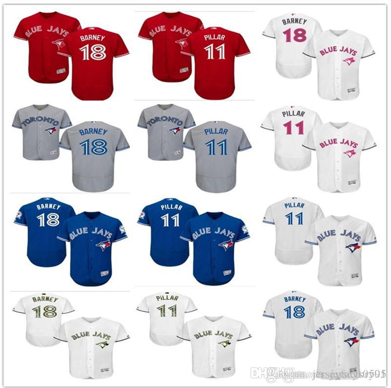 best service ce8d6 9405e custom Men's women youth Majestic Toronto Blue Jays Jersey #11 Kevin Pillar  18 Steve Tolleson home blue white kids Girls Baseball Jerse