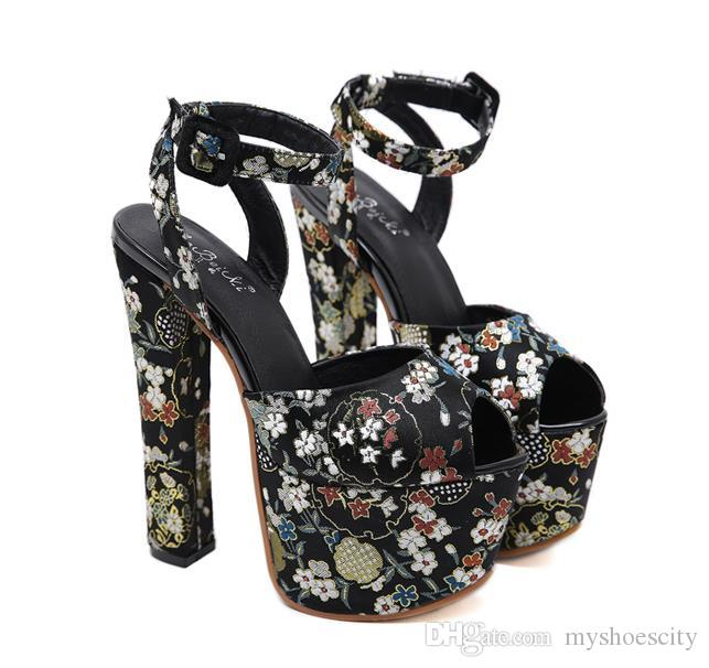 16cm Sexy black floral embroidery platfom ultra high heel sandals designer heels party shoes size 35 to 40