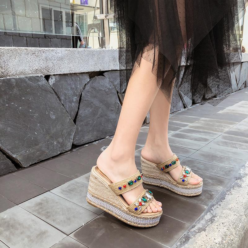 6f5fd2d0bc9 Summer Wedge Slippers Platform High Heels Women Slipper Ladies Outside Shoes  Basic Clog Wedge Slipper Flip Flop Sandals YMA752 Slipper Socks Moccasins  For ...
