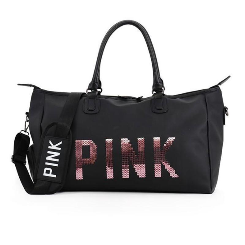 0ed8db121da9 Women Fashion Travel Bags Ladies Pink Sequin Handbags Large Capacity  WeekendLuggage Clothes Portable Duffel Bag Organizer Online Bags Waterproof  Bags From ...