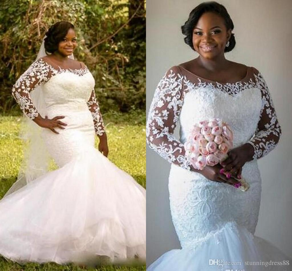 2019 African Modest Country Wedding Dresses Plus size Sheer Neck Lace  Sleeves Tulle Court Train Vestidos De Novia Wedding Dress Bridal Gowns
