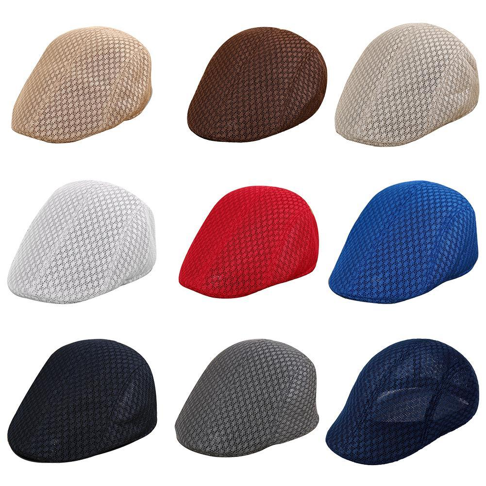 226734e6f Casual Solid Color Breathable Men Mesh Beret Sun Cap Spring Summer British  Style Outdoor Adjustable Sports Hat Flat Mesh Caps