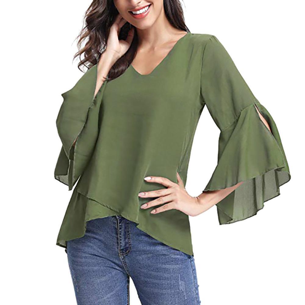 77883904d7224a Women's blouse Women Summer V-Neck Bell Sleeve Solid Chiffon Tunic Tops  Blouse Shirt blusas mujer de moda 2019 #SS