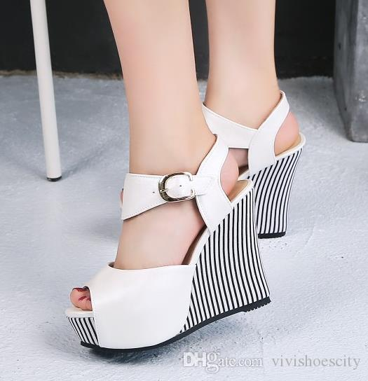Big Small Size 32 To 42 43 44 45 Sweet Navy Striped Platform Wedge Shoes Women High Heels Summer Sandals