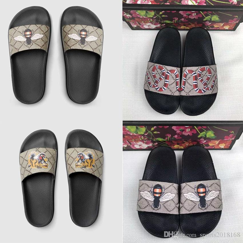 new fashion Men Women designer slides Shoes Summer Wide Flat Slippery Sandals Slipper Flip Flop SIZE 35-45