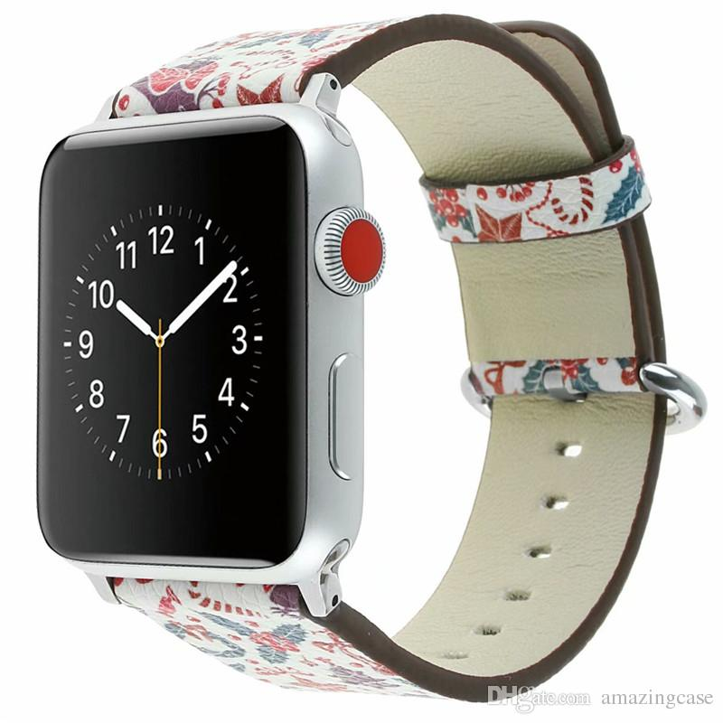 Christmas for Apple Smart Watch Leather Strap 38mm 42mm Wrist Watchband Cute print girl gift Soft Watch Band Strap Buckle Accessories