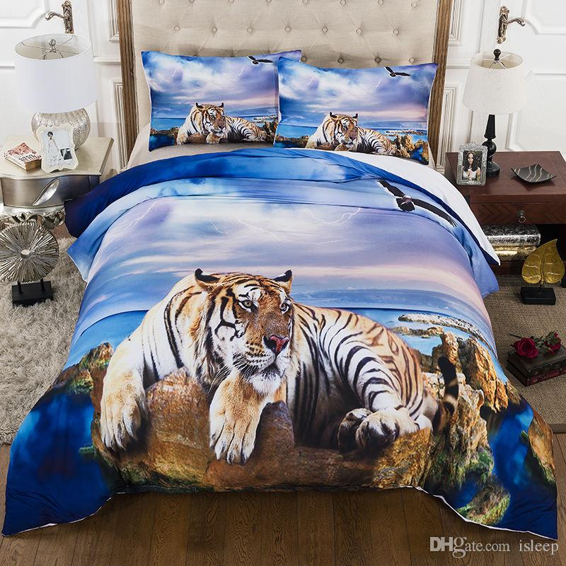 3D Bettwäsche Set Drucken Tiger am Strand 2/3 Pcs mit Kissenbezug für Twin Full Queen King All Size Bett Set