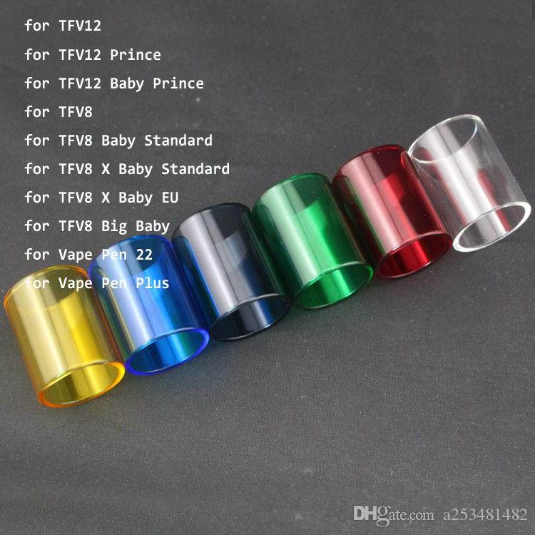 Replacement Pyrex Glass Tube for Smok TFV12 Prince Vape Pen 22 TFV12 Baby  Prince TFV8 Big Baby Straight Glass Tube