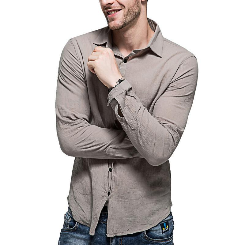 fc01ee8e78 Compre 2019cotton Camisas De Linho Homem Verão Camisa Branca Camisas  Gentleman Social Dos Homens Ultra Fino Camisa Ocasional Britânico Roupas Da  Moda De ...
