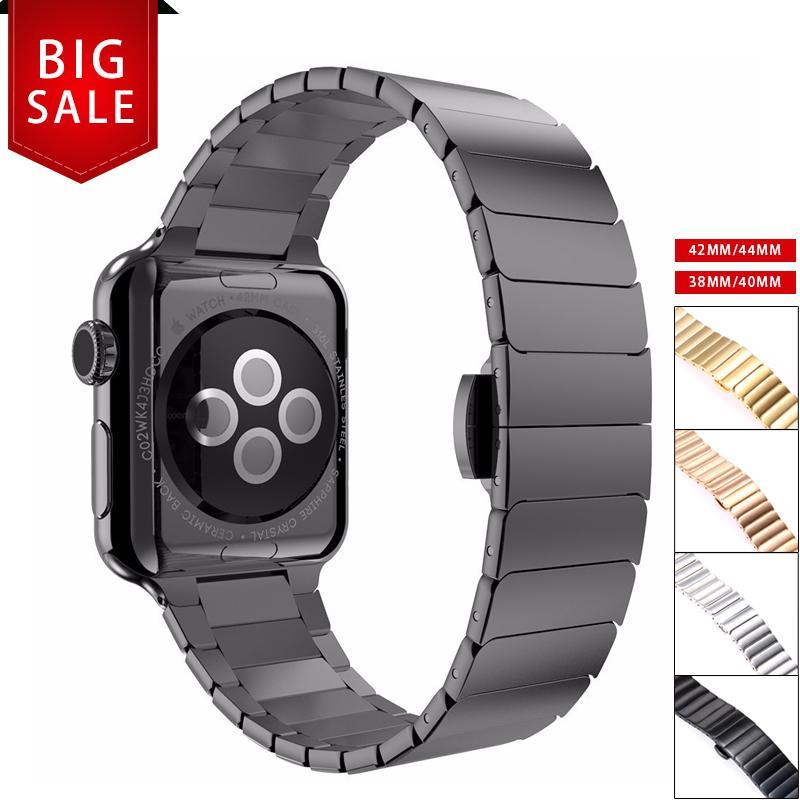 de6a2c1f193e7 Compre Correa De Acero Inoxidable Para Apple Watch 4 Pulsera De 3 Enlaces  Para Iwatch 4 3 38 40 42 44mm Cierre De Mariposa Cierre De Lazo A  21.93  Del ...