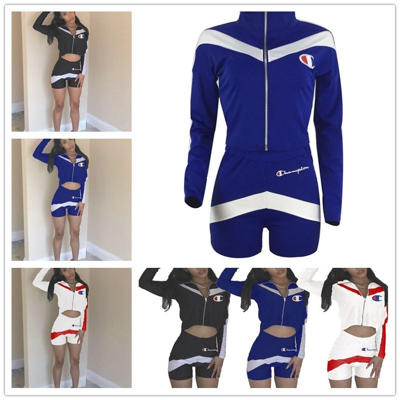 2075f443e715 Women Girls Summer Tracksuit Champions Outfits Set Letter Print Zipper Long  Sleeve Crop Hoodie Jacket +Shorts 2pcs Sports Leisure Suit C3201