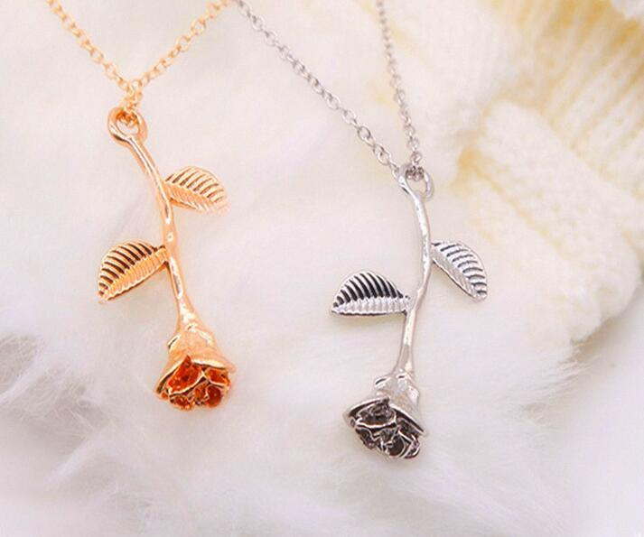 1 Pcs Delicate Rose Flower Statement Pendant Necklace Charm Gold Silver Rose Beauty Jewelry Necklace For Women Girls X54