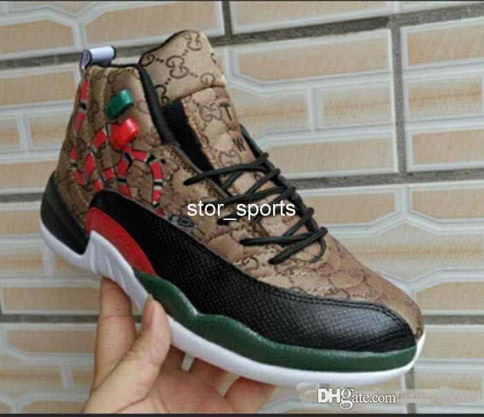 uk availability 9682b edbf2 gucci x jordan 12 GS geração de cobra preto marrom vermelho homens tênis de  basquete novo estilo 12s mens pele de cobra Multicolor tênis esportivos ...