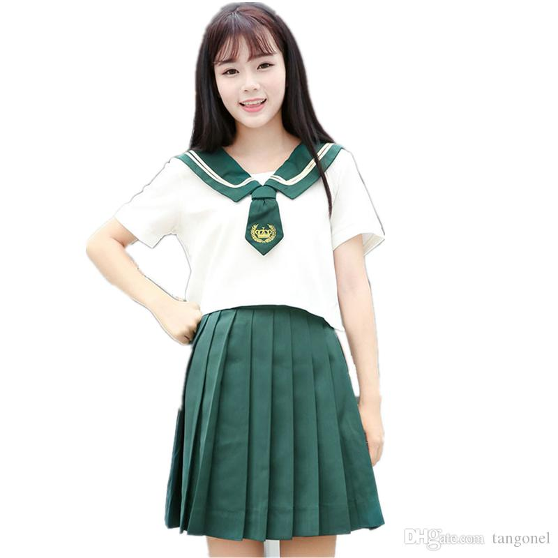 66f59c6a2 2019 School Class Uniform Pleated Skirt Green Sailor Costume Suits For  Women Japan Korean Student Girls Two Piece Suit For Cosplay From Tangonel,  ...