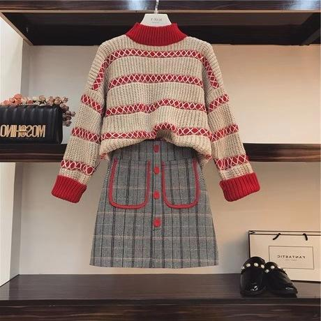 b6dc2a8f59f905 NEW Christmas Korea Style Woman Sweater Autumn And Winter 2018 Plaid Skirt  Slim Western Style Twinset Sweater Plaid Skirt Twinset Online with $57.15/ Set on ...