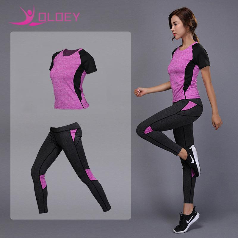 c8b1656b7bd35 Acheter Oloey Vêtements De Sport Pour Femmes Set Fitness Gym Vêtements  Tennis Shirt + Pantalon Yoga Leggings Jogging Workout Sport Suit C19041201  De $14.35 ...