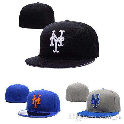 9f7a320fbcf Fashion Letter NY Cap Men Fitted Hats New York Flat Brim Embroiered Brand  Designer Sports Team Fans Baseball Caps Full Closed Chapeu Baseball Hat Hat  Store ...