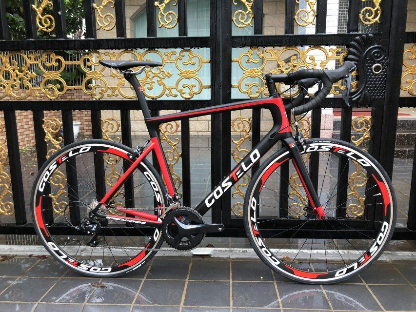 Newest Costelo speedmachine road bicycle carbon bike complete bicycle 40mm wheels 3500 group handlebar stem bici cheap bike
