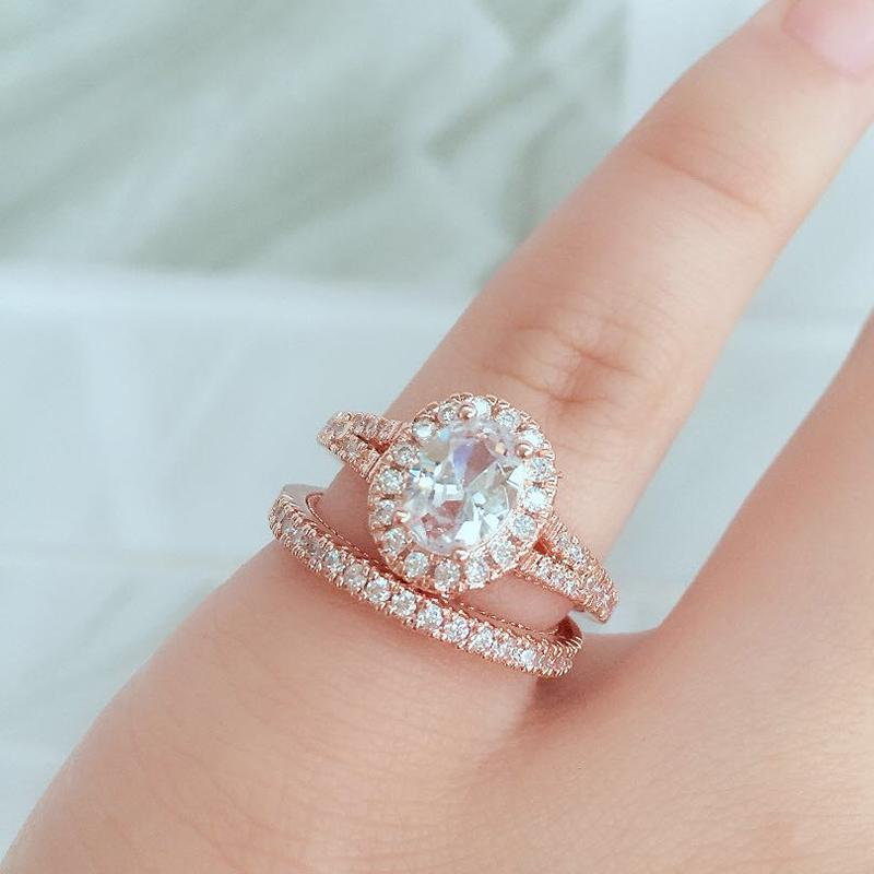 Oval Zirconia Alliance Rings Couple Paired Set Rose Gold Color