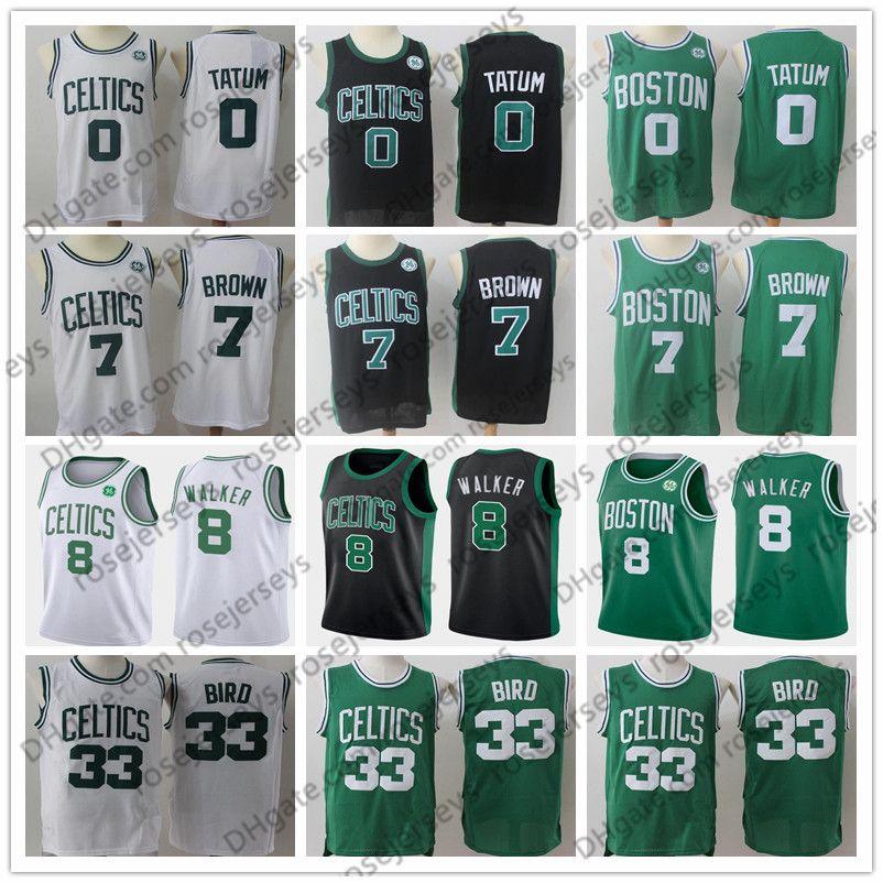 promo code c9705 4d999 2019 Celtic Jersey #0 Tatum #7 Brown #8 Walker #20 Hayward #33 Bird Boston  Shirt Black White Green Jayson Jaylen Kemba Gordon Larry