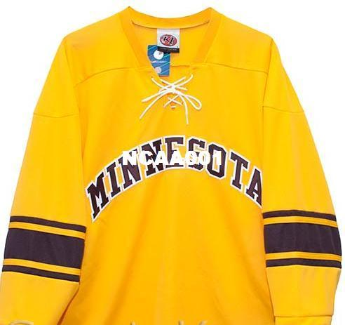 new styles 671be 64d44 Real Men real Full embroidery Minnesota Gophers Gold Home Hockey Jersey  100% Embroidery Jersey or custom any name or number Jersey