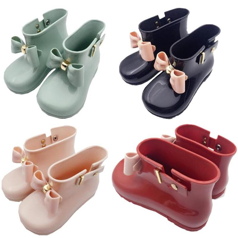 Kids Designer Shoes Girls Mini Melissa Shoes Baby Bows Jelly Rain Boots New Non-Slip Princess Short Boots Children Jelly Water Boots A6504
