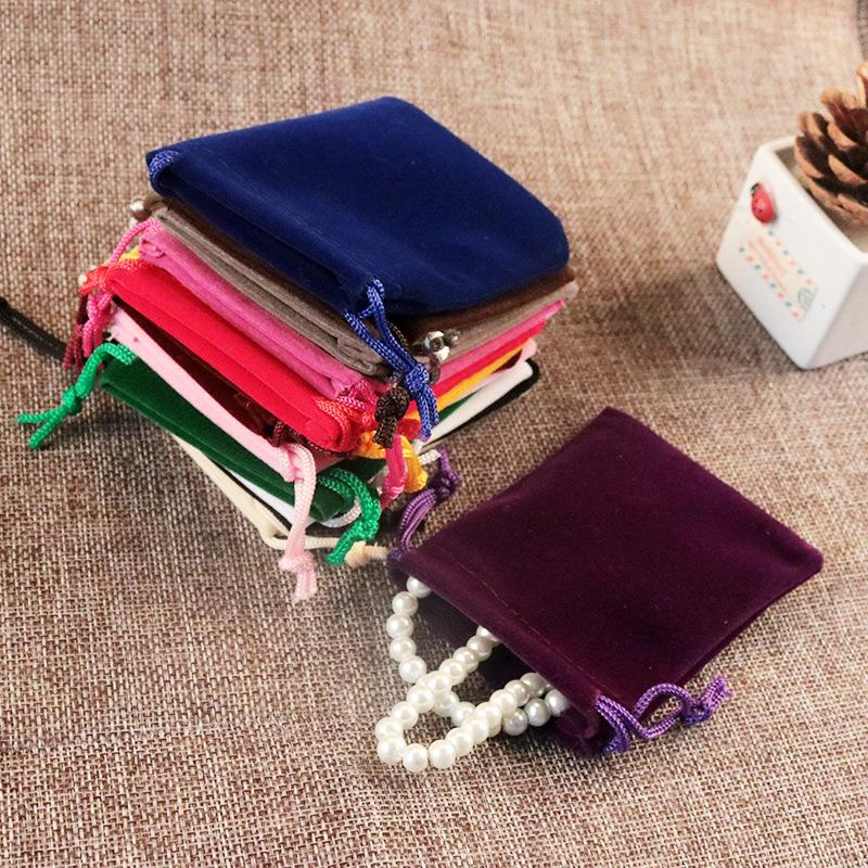 100pcs/Lot 5x7cm Black/Gray/Pink /Purple Upscale Velvet Gift Bags For Jewelry Packaging Bags 2018 New Velvet Drawstring Bags