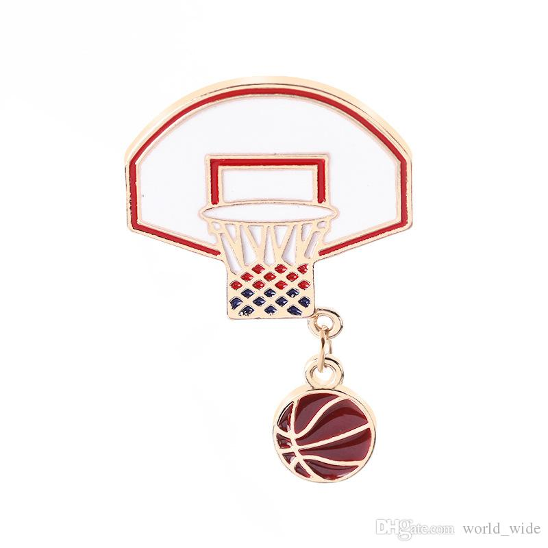Pins and brooches Basketball love fans Basketball stand ball frame Enamel pins Badges Lapel pins Women Summer Beach Jewelry