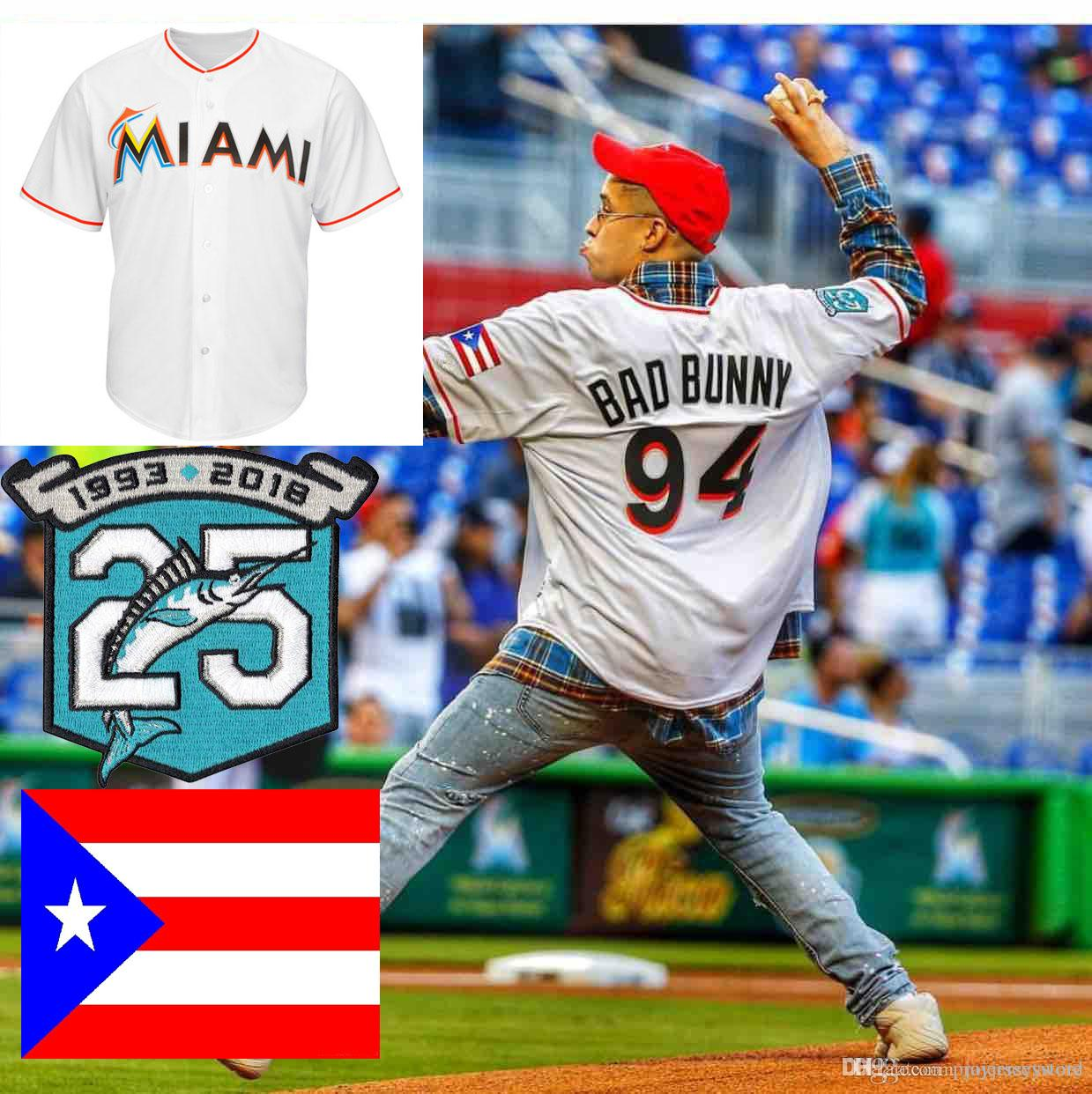 brand new 014cf 63120 Mens Maimi 94 Bad Bunny Big & Tall Marlins Jersey Size XS-6XL With Puerto  Rico Flag & Marlins 25th Anniversary Patch Baseball Jerseys