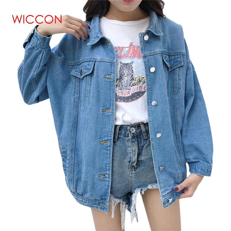 56ac8b5b6417 Acquista Denim Jeans Jacket Donna Loose Ripped Vintage Bomber Giacche Basic  Cappotti Abbigliamento Donna Primavera Autunno Abbigliamento Streetwear Top  ...