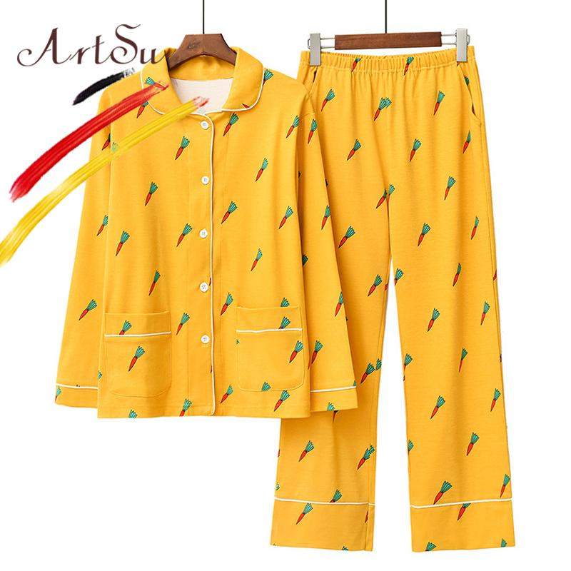 f37172c0976a 2019 ArtSu Women Spring Cotton Pajama Set Yellow Cute Carrot Print Button  Up Sleepwear 2019 Long Sleeve Tops+Long Pants Winter Pijama From  Stunning88