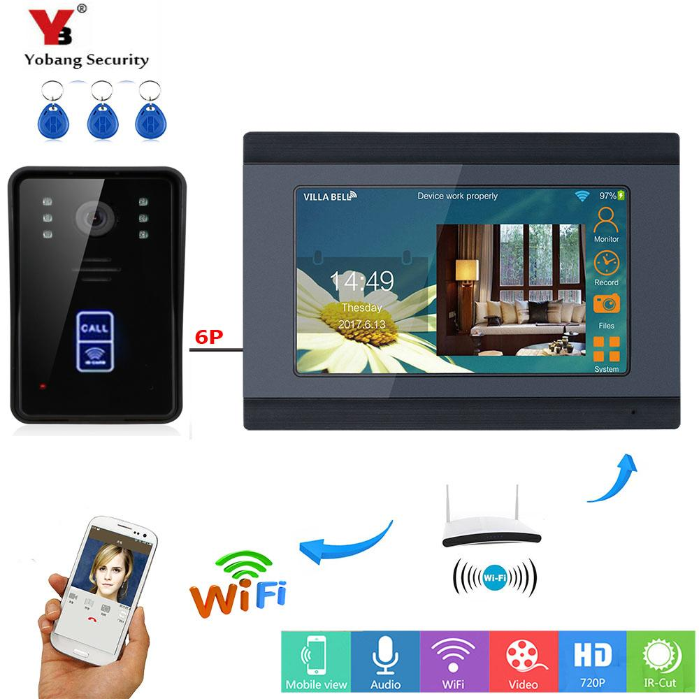 Yobang Security RFID Video Intercom 7 Inch Monitor Wifi Wireless Door Phone Doorbell Camera System APP Control Best