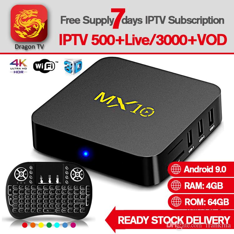 4gb 64g android caixa de tv caixa de iptv MX10 Android9.0 Quad-Core Rockchip WiFi LAN HV9 H.265 HDR10 4 K USB 3.0 HD2.0 1080 P Caixa de TV Inteligente