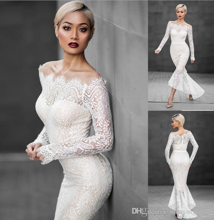 European and American sexy fishtail dress word collar off-shoulder long-sleeved lace dress Amazon explosion women dress