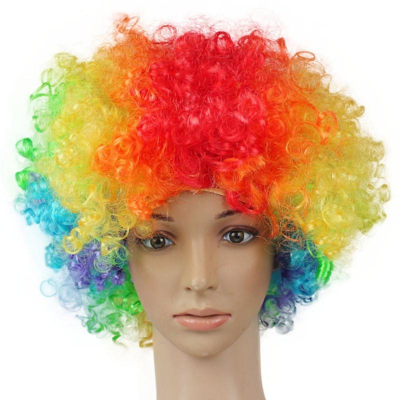 Elegant Christmas Party Synthetic Hair Performance Wavy Round Clown Wig Hair Statement Fans Wig Peluca Cosplay
