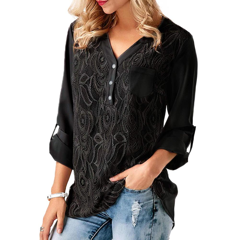 S-3 Xl Women Shirt Embroidered Flowers Deep V-neck Long Sleeve Shirts 2019 Ladies Summer Autumn Newest Sexy Plus Size Top Blouse Blouses & Shirts