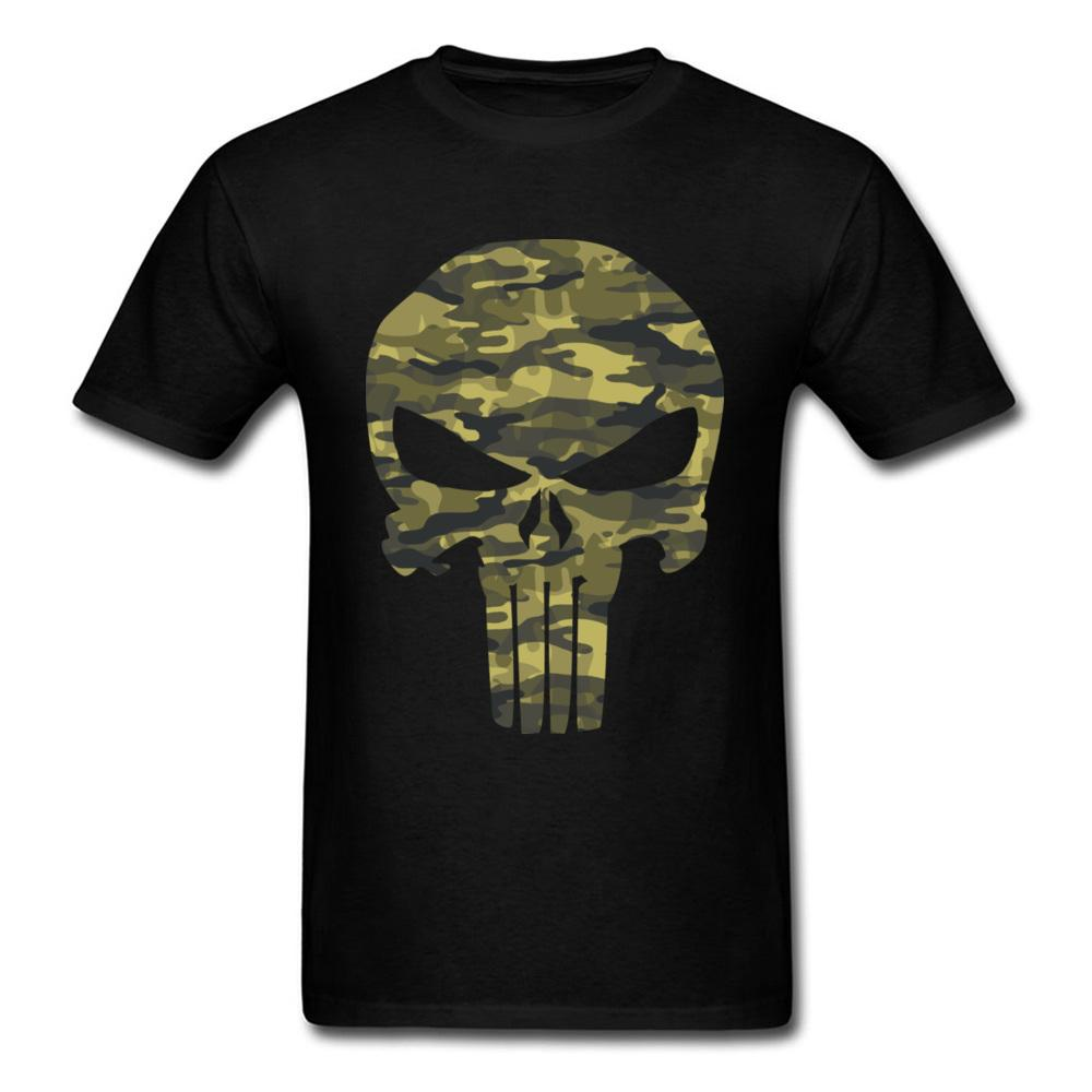 Military Style T-shirt Punisher Skull T Shirt Camouflage Tshirt Group Men Tops Cotton Clothes Father Day Gift Tees Rife Black